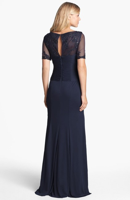 Adrianna Papell Blue Embellished Ruched Bodice Mesh Gown Long Night Out Dress Size 8 (M) Adrianna Papell Blue Embellished Ruched Bodice Mesh Gown Long Night Out Dress Size 8 (M) Image 2