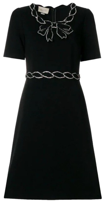 Item - Jersey Stretch with Crystal Trim In Black Mid-length Cocktail Dress Size 6 (S)