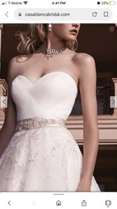 Casablanca Ivory/Sliver Tulle Lace Over Stain 2136 Formal Wedding Dress Size 6 (S)