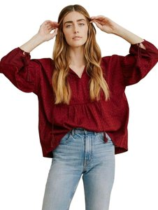 The Great. Tassels Boredeaux Top Maroon