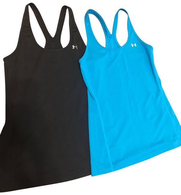 Item - Black and Dynamo Blue (Sold As Set Of 2) Women's Heatgear Racer Activewear Top Size 2 (XS)
