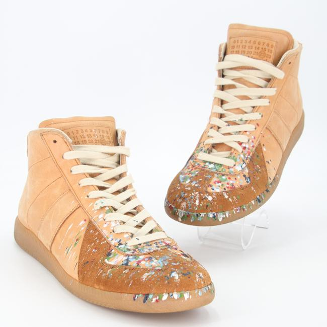 Item - Tan Multicolor Mmm Leather Replica Paint Splatter High Top Sneakers Sz. 41 Shoes