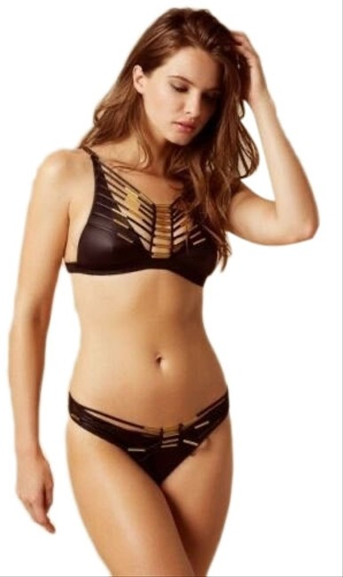 Item - Black with Gold Hardware New Tags* Swimsuit Harley Top and Bottoms - Medium* Bikini Set Size 8 (M)