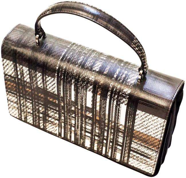 Item - Tartan Plaid Saffiano Top-handle Black White and Brown Leather Baguette