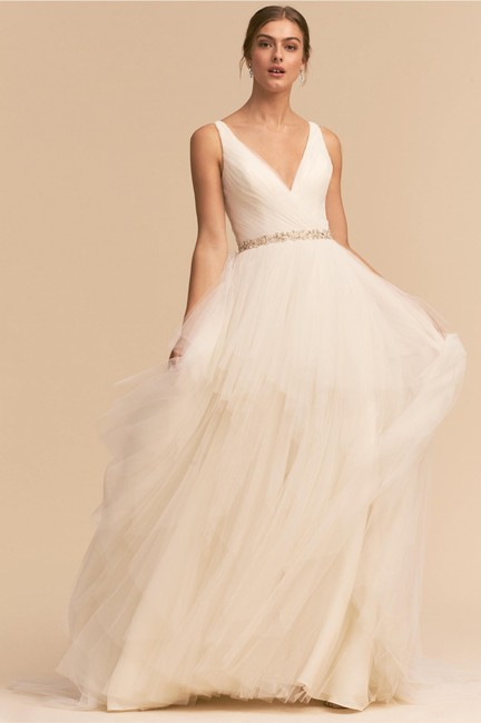 BHLDN Ivory Tulle Majestic Gown Feminine Wedding Dress Size 2 (XS) BHLDN Ivory Tulle Majestic Gown Feminine Wedding Dress Size 2 (XS) Image 1