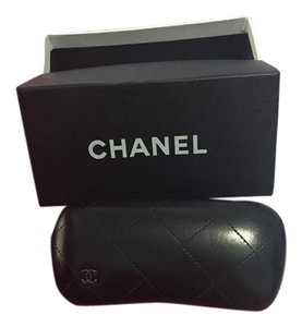 Chanel CHANEL Black Leather Sunglass case