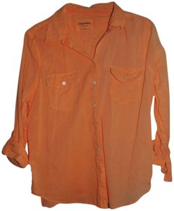 Aropostale Cotton Wrinkly New Button Down Shirt Light Orange