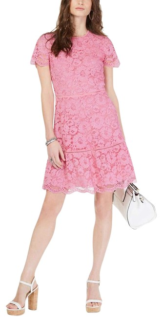 Item - Pink Womens Lace Overlay Floral Mid-length Cocktail Dress Size 12 (L)