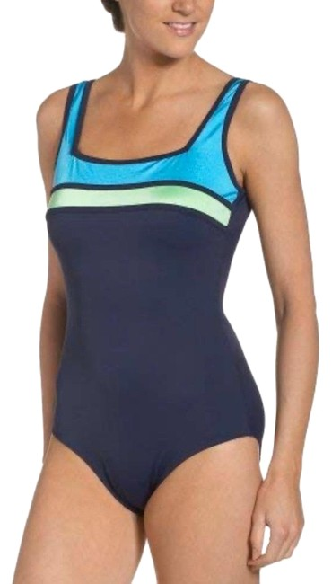 Item - Black Gray Colorblock C Cup & Up One-piece Bathing Suit Size 14 (L)