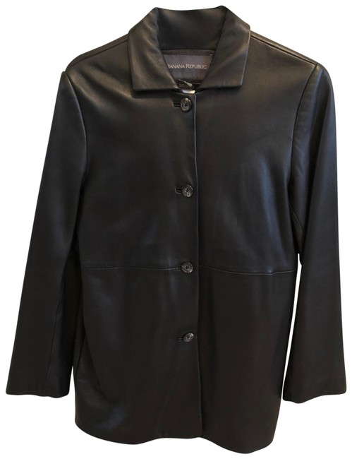 Item - Black Leather Coat Size 6 (S)