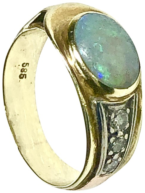 Item - 14k Yellow/Rose Gold Opal Diamond Vintage Size 5.5 Over 5 Grams Ring