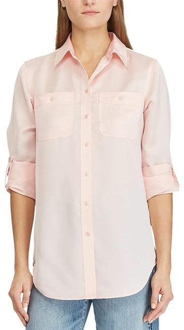 Item - Pink Womens Long Sleeves Silky Blouse Tee Shirt Size 16 (XL, Plus 0x)