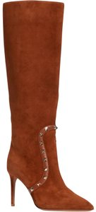 Valentino Rockstud Side Zip Pointed Toe Brown Boots