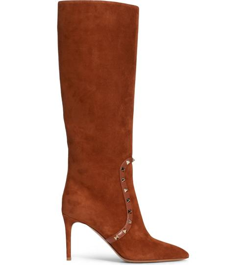 Valentino Rockstud Side Zip Pointed Toe Brown Boots Image 2