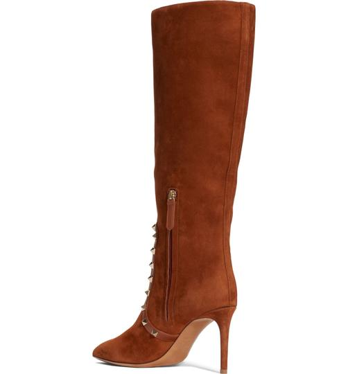 Valentino Rockstud Side Zip Pointed Toe Brown Boots Image 3