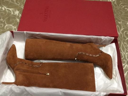 Valentino Rockstud Side Zip Pointed Toe Brown Boots Image 4