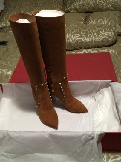 Valentino Rockstud Side Zip Pointed Toe Brown Boots Image 5