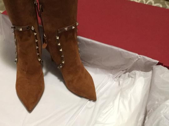 Valentino Rockstud Side Zip Pointed Toe Brown Boots Image 6