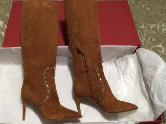 Valentino Rockstud Side Zip Pointed Toe Brown Boots Image 7