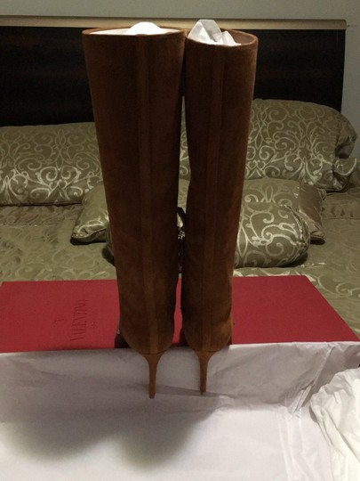 Valentino Rockstud Side Zip Pointed Toe Brown Boots Image 8