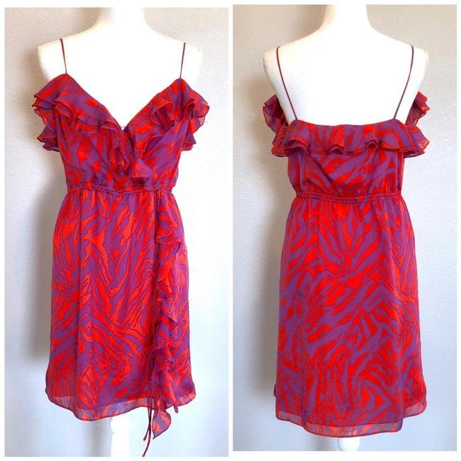 Item - Pink Purple Silk Zebra Print Mini Short Night Out Dress Size 6 (S)