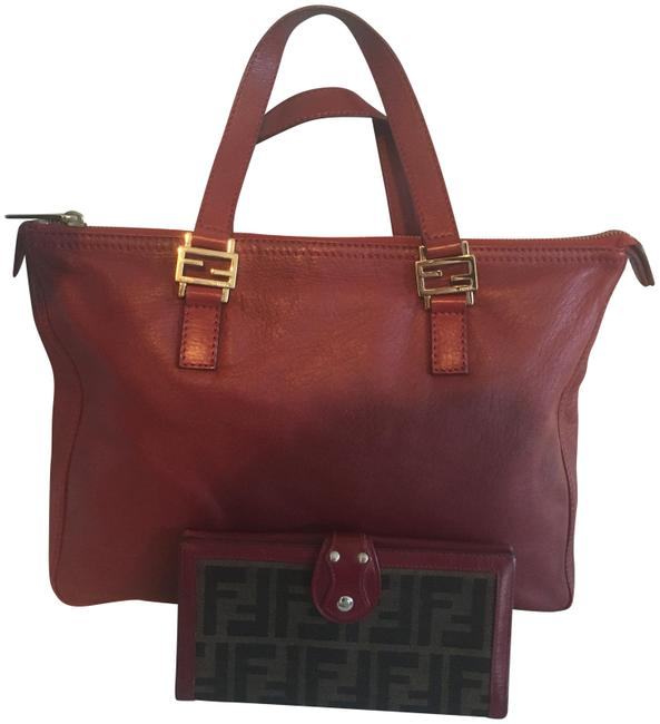 Item - Olsen Twin and Matching Wallet Apple Red Lambskin Leather Tote