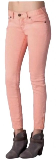 Item - Peach Medium Wash Coral Skinny Jeans Size 26 (2, XS)