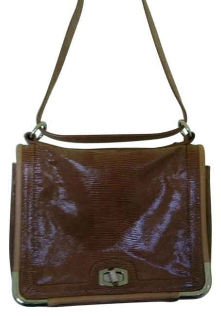 Item - Reptile Print Camel Leather Shoulder Bag