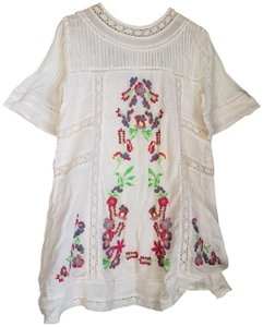 Free People short dress ivory Summer Floral Cotton Embroidery on Tradesy
