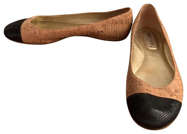 Item - Cork Tan and Black Whirl & Leather Cap Toe Ballet Wm Flats Size EU 37.5 (Approx. US 7.5) Regular (M, B)