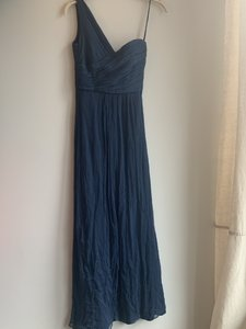 Amsale French Blue Silk Chiffon One Shoulder Gown Formal Traditional Bridesmaid/Mob Dress Size 2 (XS)