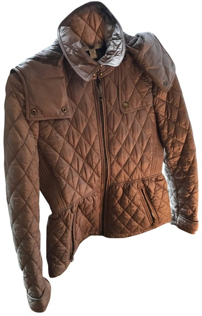 Item - Tan/Brown/Neutral Quilted Zip Jacket Size Petite 4 (S)