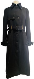 VIKTOR & ROLF Wool Gold Tone Black Long Chic Trench Coat
