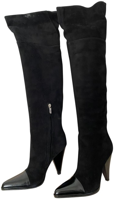 Item - Black Suede Leather Pointed Cap Toe Over The Knee Boots/Booties Size EU 36.5 (Approx. US 6.5) Regular (M, B)
