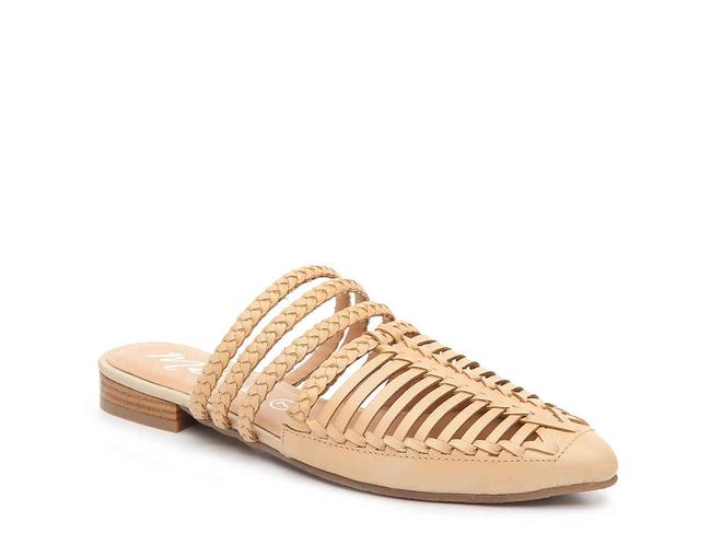Item - Beige Tuscan Braided Straps Pointed Toe Mules/Slides Size US 6 Regular (M, B)