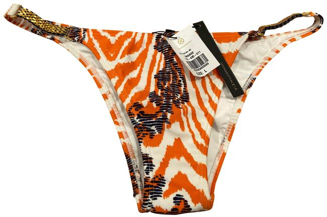 Item - Orange White Gold Blue Pauline Hermanny Jacui Detail Bikini Bottom Size 12 (L)