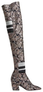 Pierre Hardy Pointed Toe Floral Over The Knee Black Boots