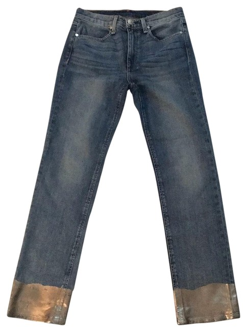 Item - Blue with Silver Medium Wash New Ankle Cigarette Skinny Jeans Size 0 (XS, 25)
