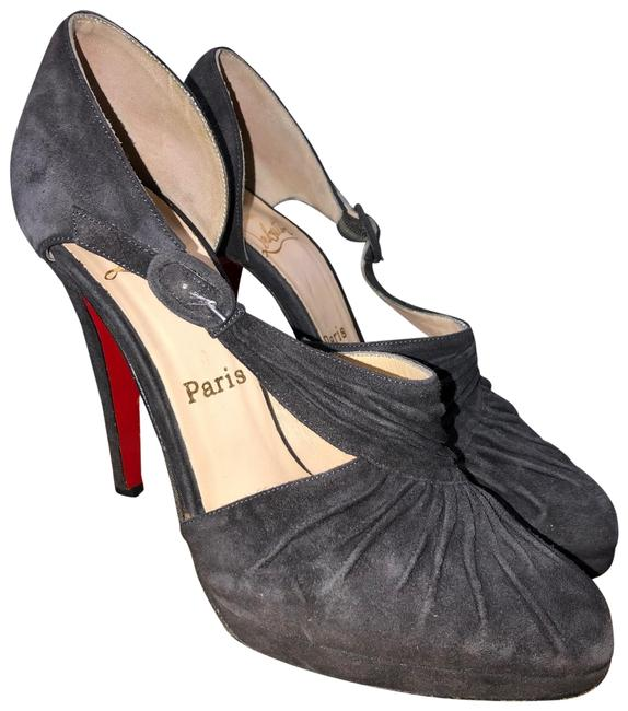 Christian Louboutin Gray Drapiday 120 Suede Platforms Size EU 37 (Approx. US 7) Narrow (Aa, N) Christian Louboutin Gray Drapiday 120 Suede Platforms Size EU 37 (Approx. US 7) Narrow (Aa, N) Image 1