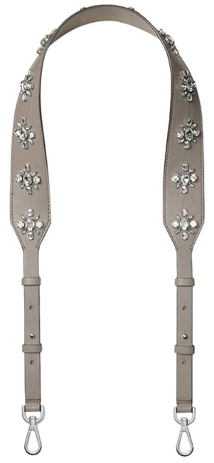 Item - Floral Crystal Strap Replacement Grey Leather Cross Body Bag