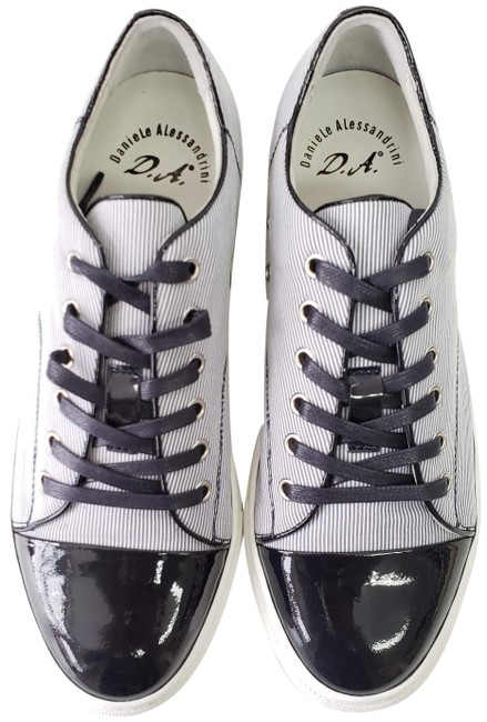 Daniele Alessandrini Blue Striped Canvas and Patent Leather Sneakers Size US 9 Regular (M, B) Daniele Alessandrini Blue Striped Canvas and Patent Leather Sneakers Size US 9 Regular (M, B) Image 1