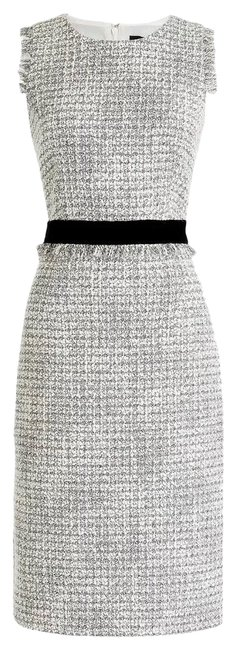 Item - Gray Sheath In Metallic Gold/Silver Tweed Color Bn Mid-length Formal Dress Size 6 (S)
