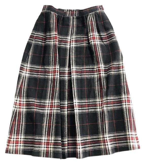 Item - Black Red White Pleat Wool Skirt Size 8 (M, 29, 30)