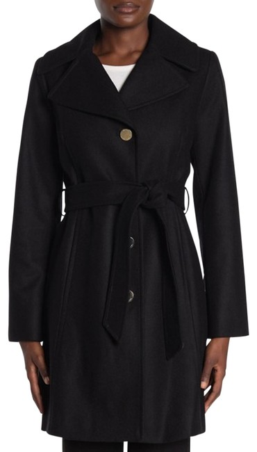 Item - Black Removable Hood Belted Coat Size 4 (S)