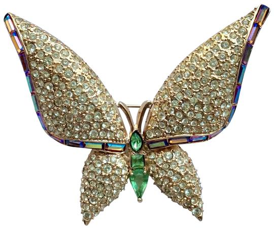 Preload https://img-static.tradesy.com/item/26637503/givenchy-gold-and-jonquil-pave-butterfly-brooch-0-1-540-540.jpg