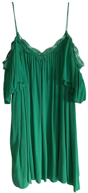 Item - Kelly Green Mimi Cold Shoulder Pleated Short Night Out Dress Size 8 (M)