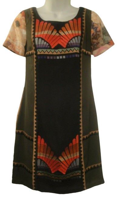 Item - Multicolor Shift Fans Vignette Embroidered Anthropologie Short Casual Dress Size 0 (XS)