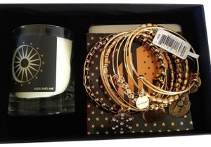 Alex + Alex Alex & Ani Snowflake Set Of Six Gold Bangle Bracelet & Votive Candle