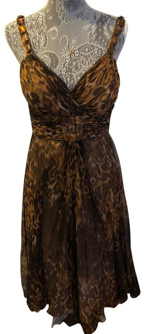 Item - Brown and Tan Leopard Cocktail Dress Size 6 (S)