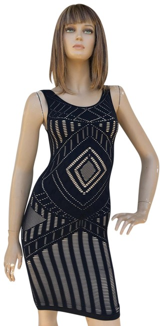 Item - Black & Nude Bodycon Short Night Out Dress Size 0 (XS)